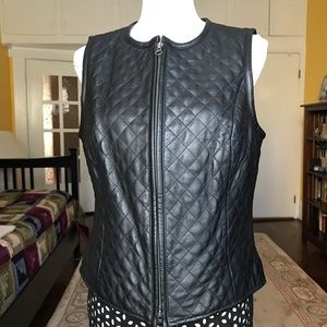 Caslon genuine leather quilted vest